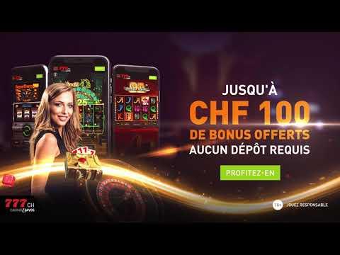 Casino777 - Jusqu'à 100 CHF de bonus d'inscription au casino en ligne suisse
